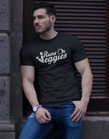 Runs On Veggies - Vegan Tee for vegans out there! UltraVe provides premium vegan clothing that are cruelty-free, ethical and sustainable. 10% of our profits are donated to animal welfare charities. We have vegan hoodies, vegan tshirts, vegan sweatshirts. Go Veganism!!