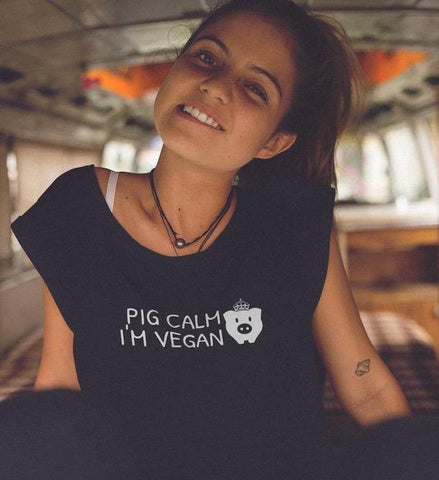 Pig Calm I'm Vegan - Vegan Crop Top for vegans out there! UltraVe provides premium vegan clothing that are cruelty-free, ethical and sustainable. 10% of our profits are donated to animal welfare charities. We have vegan hoodies, vegan tshirts, vegan sweatshirts. Go Veganism!!