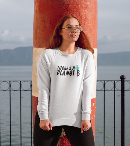 There's No Planet B (version 2) - Vegan Sweatshirt for vegans out there! UltraVe provides premium vegan clothing that are cruelty-free, ethical and sustainable. 10% of our profits are donated to animal welfare charities. We have vegan hoodies, vegan tshirts, vegan sweatshirts. Go Veganism!!