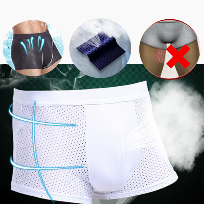 Cool Comfort Breathable Sweatproof Mesh Boxer Brief Ice Silk Shorts Underwear Relieve thigh root friction