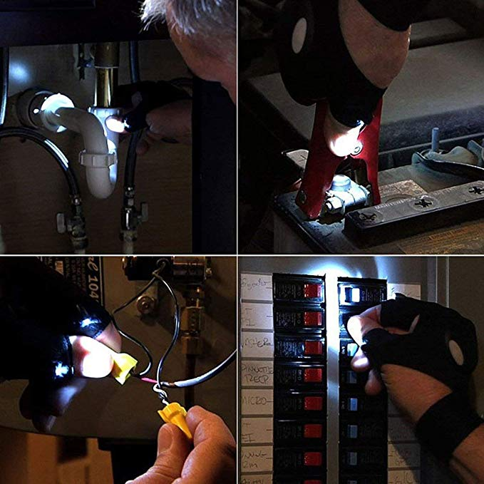 Coroler Cool Fingerless LED Flashlight Gloves for Repairing