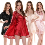 4 Pieces  Set Women Ice Satin Silk Pajamas Sleepwear for Women Long Sleeve Slip Dress