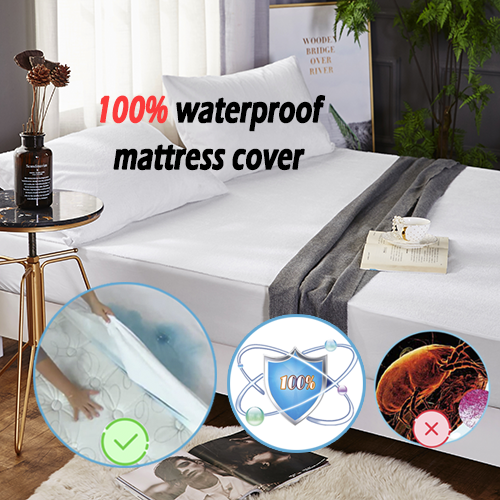 Waterproof Fitted Cover - Premium Cotton Terry fabric with TPU Membrane Hypoallergenic Mattress Protector