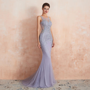 Purple Sleeveless Backless Beaded Prom Dresses Mermaid Evening Dress