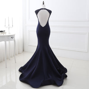 Navy Blue Cap Sleeve Open Back Mermaid Prom Dresses With Beaded