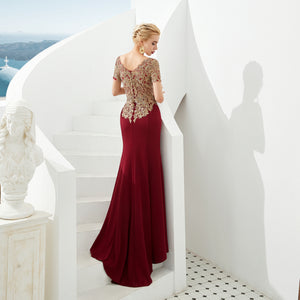 Burgundy Short Sleeve Lace Applique Prom Dresses Long Evening Dress