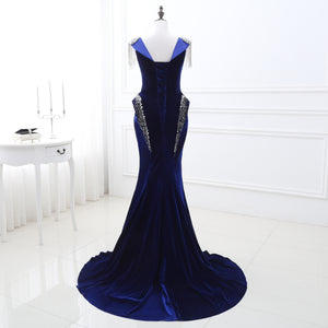 Scoop Neck Sleeveless Mermaid Prom Dresses Flannelette Evening Dress