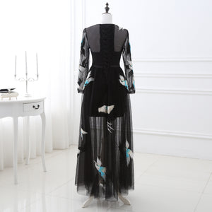 Black Long Sleeve Long Prom Dresses Embroidery Evening Dresses