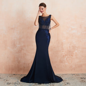 Navy Blue Sleeveless Backless Prom Dresses Lace Beaded Evening Dress