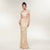 Champagne gold Two Piece Short Sleeve Gold spray Prom Dresses
