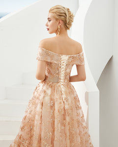 Off Shoulder Lace Starry Sky Prom Dress A Line Evening Dress