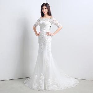 Off Shoulder Half Sleeve Lace Applique Mermaid Wedding Dresses