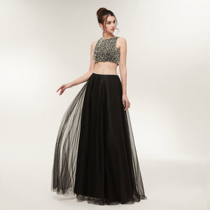 Two Piece Sleeveless Open Back A Line Tulle Prom Dresses With Pearls