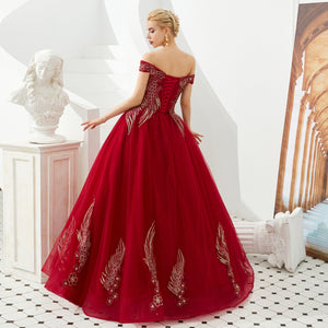 Luxury Off Shoulder Embroidery Prom Dresses Long Evening Dresses