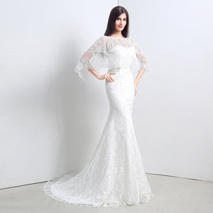 Two Piece Backless Mermaid wedding Dress Lace Bridal Gown