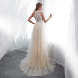 Sleeveless Halter Lace Applique Wedding Dresses A Line Bridal Dresses