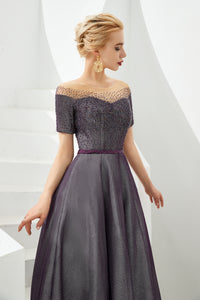 Purple Off Shoulder Short Sleeve A Line Prom Dresses With Beading