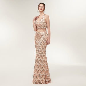 Champagne gold Two Piece Halter Sequin fringe net Prom Dresses
