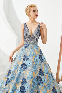V Neck Sleeveless Backless Brocade Prom Dresses With Beading