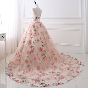 Sleeveless Backless A Line Prom Dresses Flower Tulle Evening Dresses