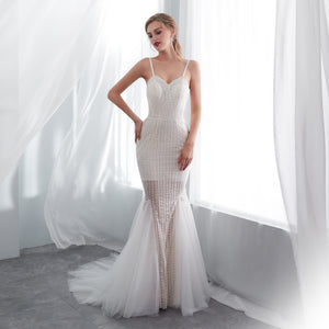 Spaghetti Straps Backless Mermaid Wedding Dresses With Beaded