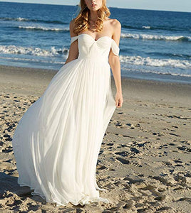Sexy White Off Shoulder Open Back Chiffon Wedding Dress Bridal Gown With Beading Sash