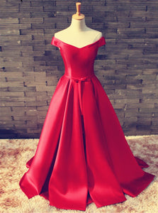 Elegant Red Off Shoulder Empire Waist Satin Prom Dress Long Evening Dress