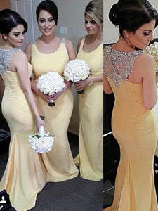Yellow Scoop Neck Mermaid Evening Dresses Long Prom Dresses With Sleeveless - EVERISA