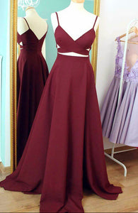 Burgundy V Neck A Line Prom Dresses V Back Long Evening Dresses - EVERISA