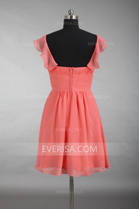 Coral Red Cap Sleeves A Line Bridesmaid Dresses Short Homecoming Dresses