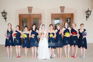 Different Style Navy Blue Chiffon Bridesmaid Dresses Cheap Prom Dresses