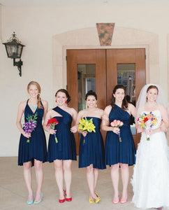 Different Style Navy Blue Chiffon Bridesmaid Dresses Cheap Prom Dresses - EVERISA