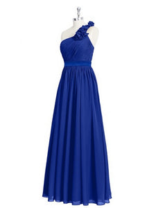 Royal Blue One Shoulder Backless A Line Bridal Dresses Long Prom Dresses
