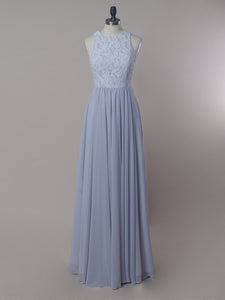 Unique Scoop Neck Sleeveless Long Bridesmaid Dresses A Line Prom Dresses - EVERISA