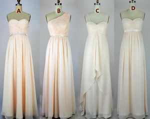 Different Style Chiffon Long Bridesmaid Affordable Prom Dresses With Ruffles