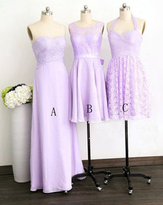 Different Style Purple Sleeveless A Line Bridesmaid Dresses Cheap Prom Dresses