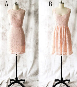 Different Style Blush Pink Sleeveless Lace Bridesmaid Dresses Short Prom Dresses
