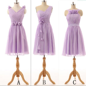 Different Style Lilac Sleeveless Chiffon Prom Dresses  A Line Bridesmaid Dresses - EVERISA