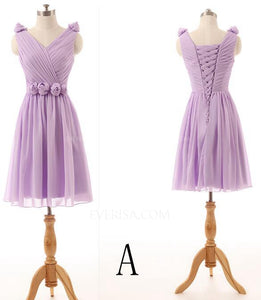 Different Style Lilac Sleeveless Chiffon Prom Dresses  A Line Bridesmaid Dresses