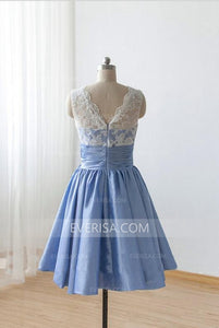 Blue Sleeveless A Line Prom Dresses Empire Cheap Bridesmaid Dresses With Sash - EVERISA