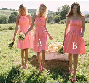 Cute Pink Empire Sleeveless Short Bridesmaid Dresses Affordable Prom Dresses