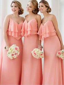Pink Spaghetti Straps Sleeveless Ruffles Bridesmaid Dresses Long Prom Dresses - EVERISA