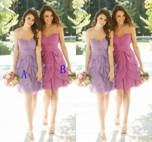 Sexy Sweetheart Sleeveless Chiffon Bridesmaid Dresses Short Prom Dresses With Ruffles - EVERISA