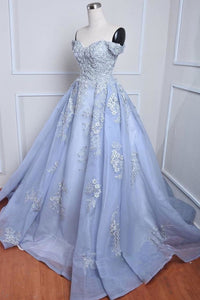 Blue Sweetheart Lace Applique Prom Dresses Off Shoulder Evening Dresses
