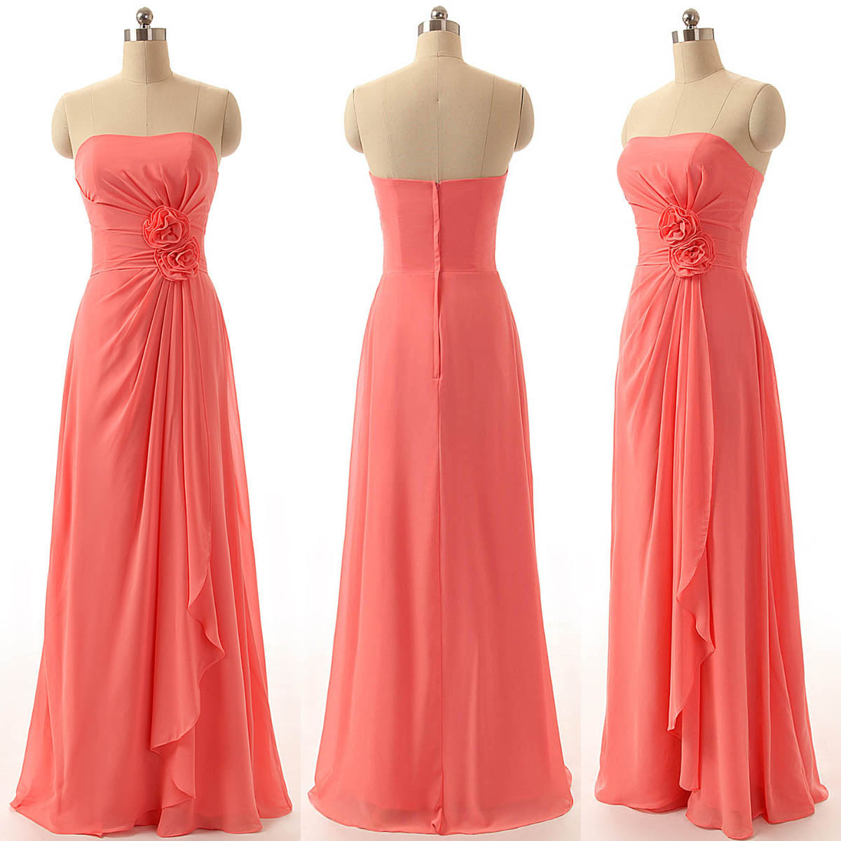 f0285e3d498 Coral Red Strapless Backless Chiffon Prom Dresses Best Bridesmaid Dresses  With Flower