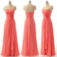 Coral Red Strapless Backless Chiffon Prom Dresses Best Bridesmaid Dresses With Flower