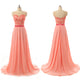 Coral Red Sleeveless Long Prom Dresses Cheap Bridesmaid Dresses With Lace Applique - EVERISA