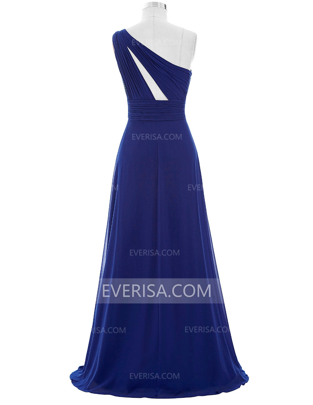 Royal Blue One Shoulder Backless Bridesmaid Dresses Chiffon Prom Dresses