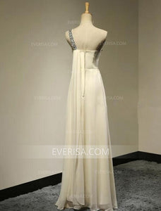 One Shoulder Sleeveless Chiffon Evening Dresses Cheap Prom Dresses With Beading