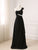 Black One Shoulder A Line Prom Dresses Sleeveless Evening Dresses With Rhinestone - EVERISA